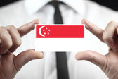 Businessman holding a business card with Singapore Flag — Stock fotografie