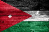Bandera de jordania pintado en textura de tablón de madera antiguo — Foto de Stock