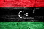 Libya Flag painted on old wood plank texture — Foto Stock