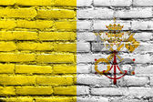 Vatican City Flag painted on brick wall — Stock Photo
