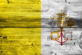 Vatican City Flag painted on old wood plank texture — Stock Photo