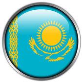 Kazakhstan Flag glossy button — Stok fotoğraf