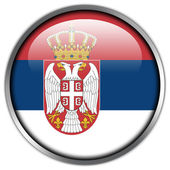Serbia Flag glossy button — Stock Photo