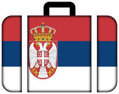 Suitcase with Serbia Flag — Stock Photo