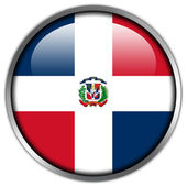 Dominican Republic Flag glossy button — Stock Photo