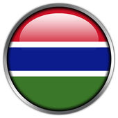 Gambia Flag glossy button — Stock Photo