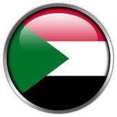 Sudan Flag glossy button — Stock Photo