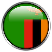 Zambia Flag glossy button — Stock Photo