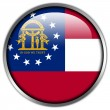 Georgia State Flag glossy button — Stock Photo