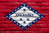 Arkansas State Flag painted on brick wall — Стоковое фото