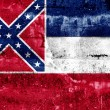 Stock Photo: Mississippi State Flag painted on grunge wall