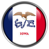Iowa State Flag glossy button — Stock Photo