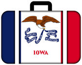 Suitcase with Iowa State Flag — Stock Photo