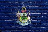 Maine State Flag painted on brick wall — Stock Photo