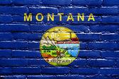 Flaga stanu montana malowane na mur z cegły — Zdjęcie stockowe
