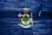 Maine State Flag painted on old wood plank texture — Stock Photo