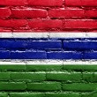 Stock Photo: Gambia Flag painted on brick wall