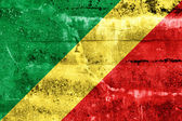 Congo Republic Flag painted on grunge wall — Stock Photo