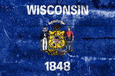 Wisconsin State Flag painted on grunge wall — Stock Photo