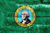Washington State Flag painted on grunge wall — Stock Photo