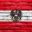 Stock Photo: AustriFlag painted on brick wall