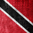 Stock Photo: Trinidad and Tobago Flag painted on luxury crocodile texture
