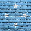 Micronesia Flag painted on brick wall — Stock Photo