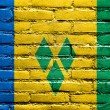 Zdjęcie stockowe: Saint Vincent and Grenadines Flag painted on brick wall