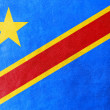 Foto Stock: Democratic Republic of Congo Flag painted on leather texture