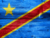 Democratic Republic of the Congo Flag painted on old wood plank texture — Stock Photo