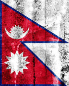 Nepal Flag painted on grunge wall — Stock Photo