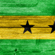 Sao Tome and Principe Flag painted on old wood plank texture — Stock Photo #40865469