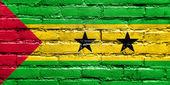 Sao Tome and Principe Flag painted on brick wall — Stock Photo