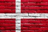 Denmark Flag painted on brick wall — Stock Photo