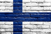 Finland Flag painted on brick wall — Stock Photo