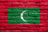 Maldives Flag painted on brick wall — Stock Photo