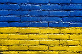 Ukraine Flag painted on brick wall — Stock Photo