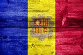 Andorra Flag painted on old wood plank texture — Stockfoto