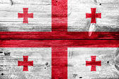 Georgia Flag painted on old wood plank texture — 图库照片