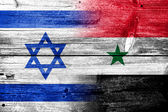 Israel and Syria Flag painted on old wood plank texture — Stock Photo