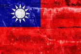 Bandeira de taiwan pintada na parede do grunge — Fotografia Stock