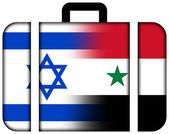 Suitcase with Israel and Syria Flag — Stock Photo