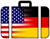 Suitcase with USA and Germany Flag — Stock Photo