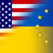 Stock Photo: Ukraine, EU and USFlag