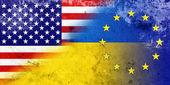 Grunge Ukraine, EU and USA Flag — Stock Photo
