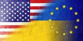 Ukraine, EU and USA Flag painted on leather texture — Stock Photo