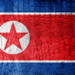 Stock Photo: North KoreFlag painted on luxury crocodile texture
