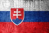 Bandeira da eslováquia pintado na textura de crocodilo de luxo — Foto Stock