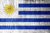 Bandeira do uruguai pintada na textura de crocodilo de luxo — Foto Stock