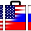 Stock Photo: Suitcase with USand RussiFlag